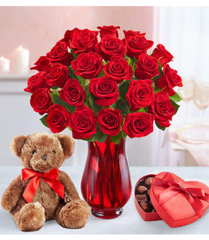 Bear w/ 1-Dz Red Roses