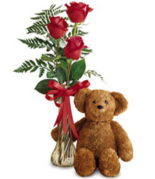 Simple Elegance Roses & Bear