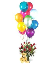 1-Dz Roses w/ Balloons & Teddy Bear Arrangement