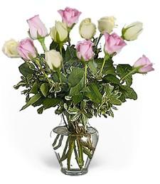 One-Dozen White & Pink Birthday Roses