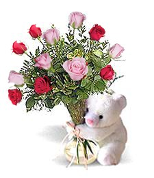 Bear w/ Pink & Red Birthday Roses