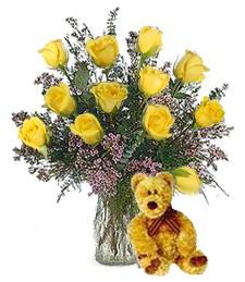 Bear w/ 1-Dz Yellow Roses