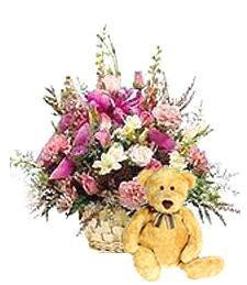 Pink Spring Birthday Basket & Bear