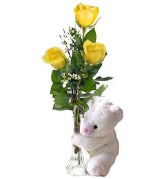 3 Yellow Roses & Bear