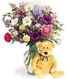 Birthday Medley of Blooms w/ Bear