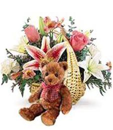 Spring Flower Basket & Bear