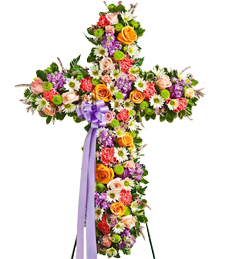 Dazzling Cross of Colors Sympathy Wreath