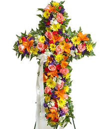 Cross of Rainbows Sympathy Wreath